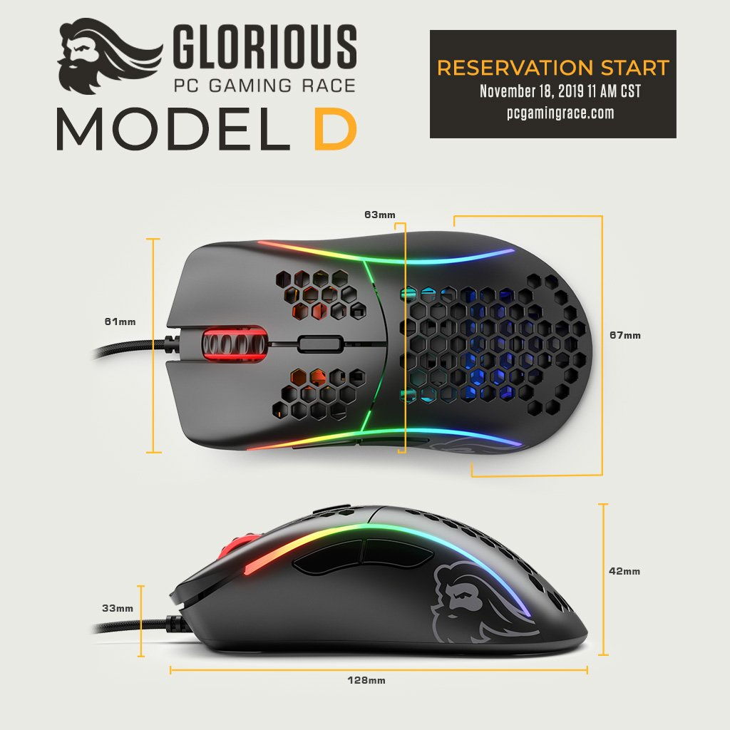 Glorious Model D Dimensinos